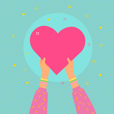 Concept of charity and donation. Give and share your love to people. Hands are holding big heart symbol. Flat design, vector illustration.