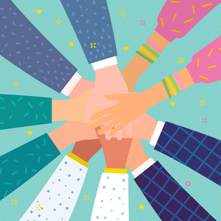 Concept of team work. Friends with stack of hands showing unity and teamwork Stock Vector - 118849203