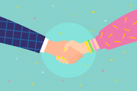 Concept of success deal, happy partnership, greeting shake, casual handshaking agreement. Shaking man and woman hands. Flat design, vector illustration.
