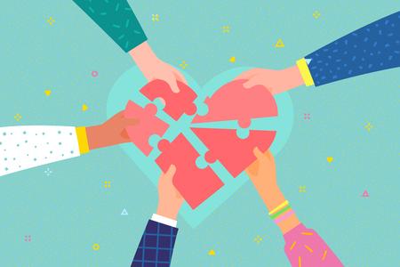 Concept de charité et de don. Donnez et partagez votre amour aux gens. Plusieurs personnes détiennent un grand symbole de puzzle cardiaque sur leurs mains. Design plat, illustration vectorielle.