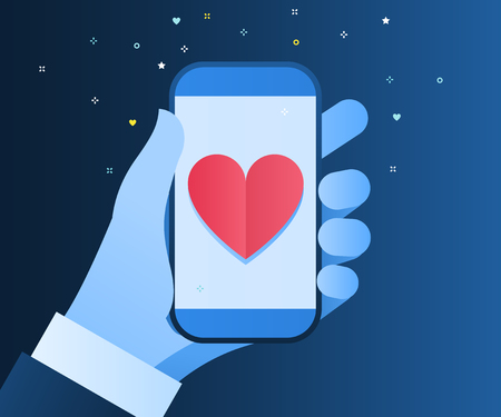 Sending love message concept. Hand holding phone with heart on blue background. Flat design, vector illustration. Иллюстрация