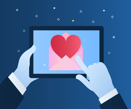 Sending love message concept. Hand holding phone with heart in the mail on blue background. Flat design, vector illustration. Иллюстрация