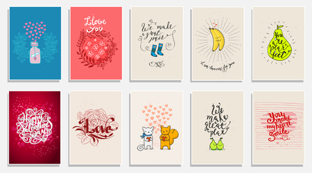 Funny phrases about love. Hand drawn Valentines Day card with funny pear, animals, bananas and hand written note. Set of Valentines cards.