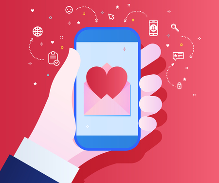 Sending love message concept. Hand holding phone with heart on red background. Flat design, vector illustration.