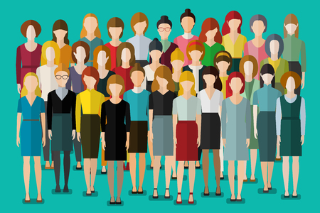 Group of business women. Crowd of happy young pretty unrecognizable women. International women s day. Flat design, vector illustration.