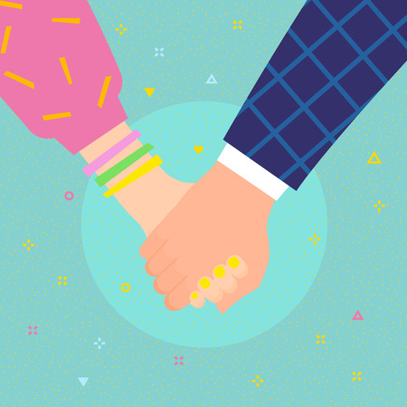 Concept of love. Couple holding hands. Flat design, vector illustration