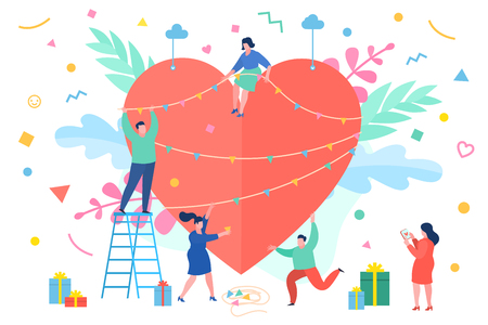 Concept of Love. Tiny people with a heart Stock Vector - 120411180