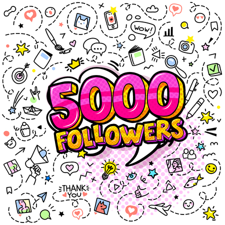 Five thousand followers in red color illustration in pop art style with hand-drawn icons. Concept of following. 5K. Vector illustration