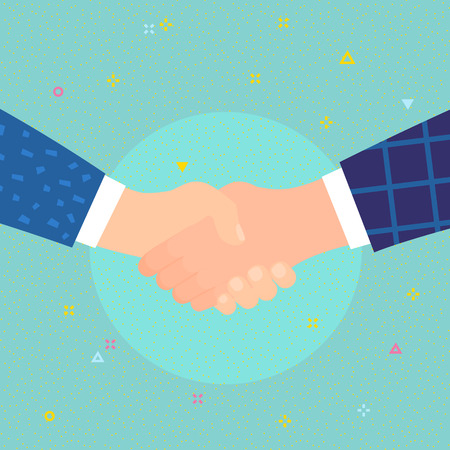 Concept of success deal, happy partnership, greeting shake, casual handshaking agreement. Shaking hands. Flat design, vector illustration.