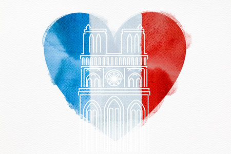 Notre Dame Cathedral with the French flag in the shape of a heart.