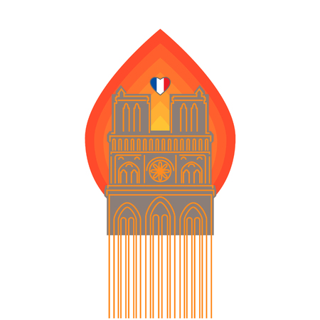 Notre Dame Cathedral with symbol of fire. French flag in the shape of a heart. Vector illustration.