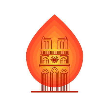 Notre Dame Cathedral with symbol of fire Stock Photo - 120799181