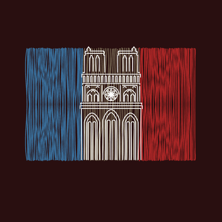 Notre Dame Cathedral with symbol of fire Stock Photo