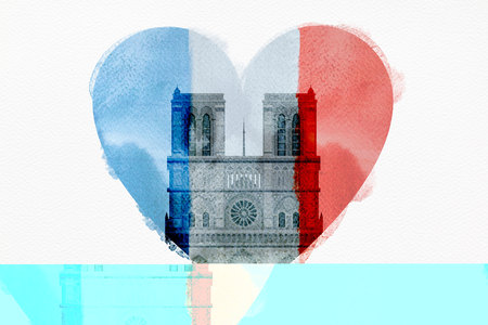 Notre Dame Cathedral with the French flag in the shape of a heart. Stock Photo - 120799185