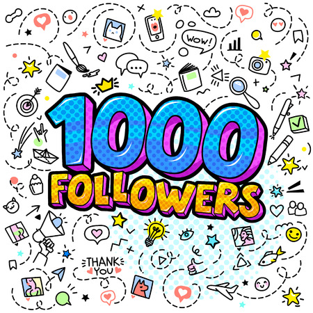 Concept of following. One thousand followers in blue color illustration in pop art style with hand-drawn icons. Vector illustration 일러스트
