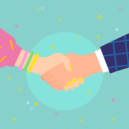 Concept of success deal, happy partnership, casual handshaking agreement. Shaking man and woman hands. Flat design, vector illustration. Ilustración de vector