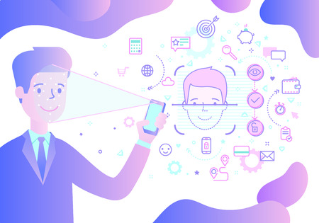 Concept of Face ID. Man is holding phone in his hand with process of Face Recognition. Vector illustration.