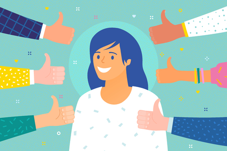 Concept of success and public approval. Cheerful young woman surrounded by hands with thumbs up. Flat design, vector illustration. Çizim