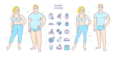 Concept of healthy lifestyle. Fat man and woman lose weight. Before and after. Illustration