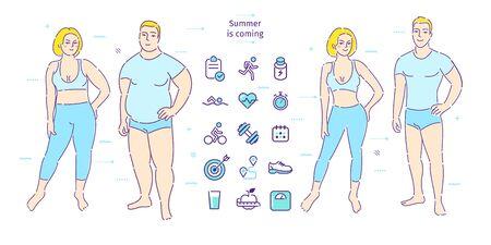 Concepto de estilo de vida saludable. El hombre y la mujer gordos pierden peso. Antes y después de.
