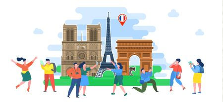 Concept of travel or studying French. Tourists in France. Illustration