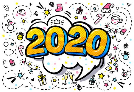 2020 new year. Numbers 2020 in pop art style Фото со стока - 126190158