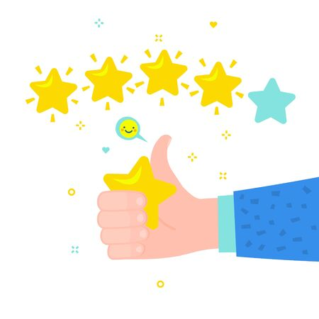 Hand with pointing finger pointing to rating stars. Flat design Фото со стока - 126190159