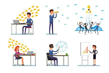Set of business characters working in office. Vector illustration design Фото со стока - 127472815