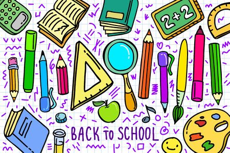 Concept of education. School background with hand drawn school supplies and comic speech bubble Фото со стока - 127848942