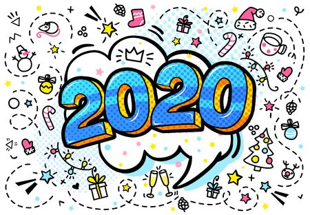 2020 new year. Numbers 2020 in pop art style