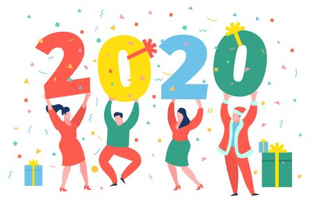 Business people, man and woman building a numbers 2020, in flat modern style. preparing to meet the new year . Stock Vector - 129399614