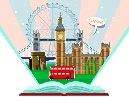 Concept of Travel and Tourism. Open book with landmarks.
