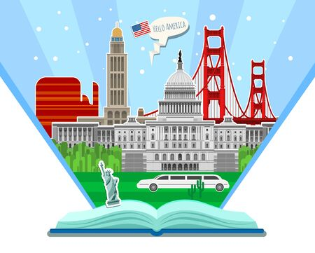 Concept of Travel and Tourism. Travel to USA. Study English. Open book with American landmarks.