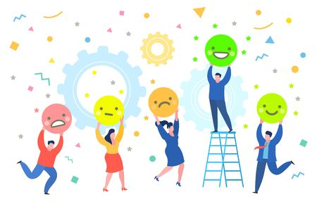 Concept of rate. People holding emoji and giving emoticon rating, on white background. Good and bad review. Flat design, vector illustration Ilustrace