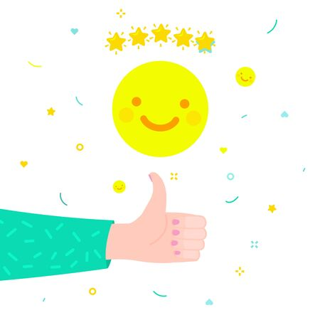 Concept of rate. Hand of woman with thumbs up giving emoticon rating with yellow smile emoji on white background. Good review. Flat design, vector illustration