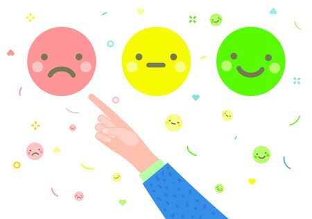 Concept of rate. Hands with index fingers pointing at emoji and giving emoticon rating, on white background. Bad review. Flat design, vector illustration