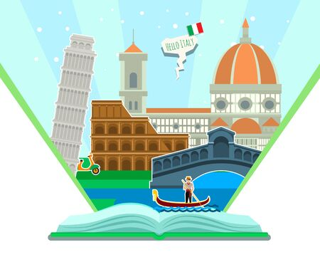 Concept of travel to Italy or studying Italian. Italian flag with landmarks in open book. Tourism in Italy. Flat design, vector illustration