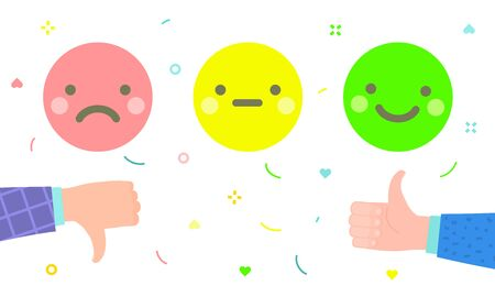 Hand with thumbs down and thumbs up to rating stars. Flat design