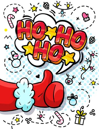 Santa Claus hand in red suit and mitten showing thumb up in pop art style. Sign like and Ho Ho Ho message on white background Illustration