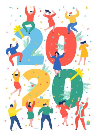 New Year party concept. Business people dance next to numbers 2020. Preparing to meet the new year. Office Team are preparing to meet the new year. Flat design, vector illustration. Illustration