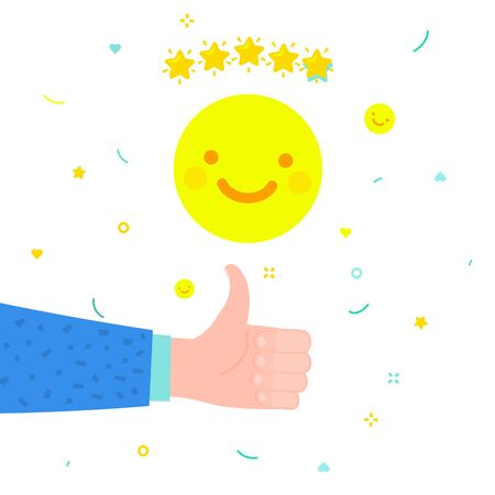 Concept of rate. Hand of man with thumbs up giving emoticon rating with yellow smile emoji on white background. Good review. Flat design, vector illustration