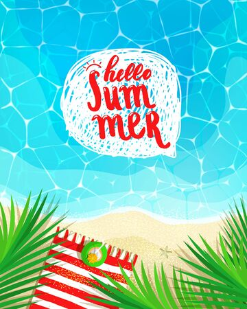 Hello Summer lettering message on nautical background top view.