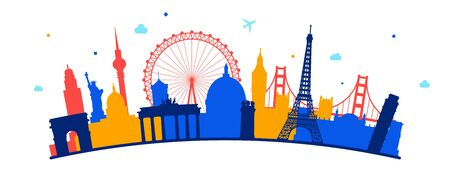 Concept of travel or studying languages. Stylized Famous buildings