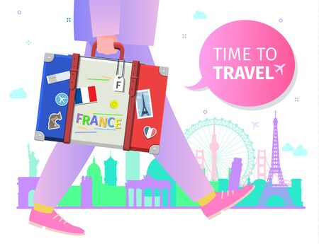 Concept of travel or studying French. Time to travel message.