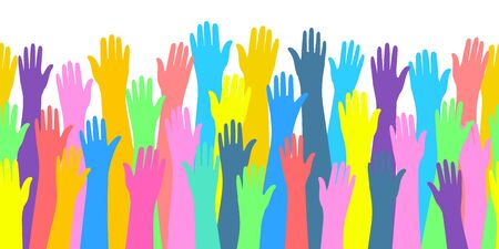 Concept of volunteering. Raised color hands of many people. Flat design, vector illustration. 向量圖像