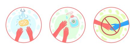 Concept of pandemic and virus spread. Safety icons. Washing hands with soap, use a disinfector, handshakes are prohibited. Illusztráció