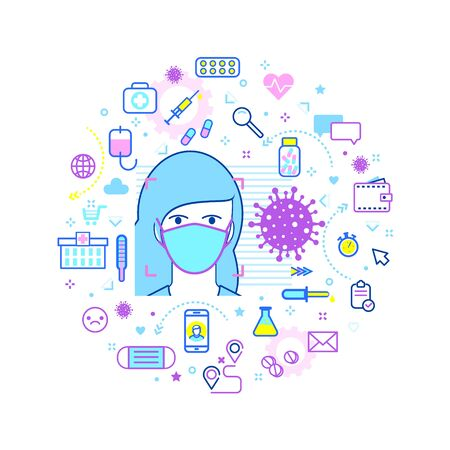 Concept of pandemic and virus spread. Safety icons. Man face with flu mask to prevent the spread of virus germs. Stop 2019-nCoV Novel Corona virus.