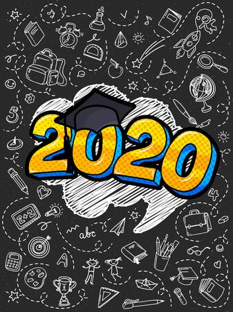 Concept of a graduating class of 2020. Numbers with graduation cap in pop art style