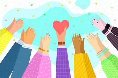 Concept of charity and donation. Give and share your love to people. Hands holding a heart symbol and show peace gesture. Vector illustration.