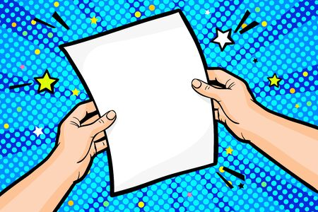 Male hand holds a sheet of paper in pop art style on blue background. Vector colorful hand drawn illustration with halftone in retro comic style.